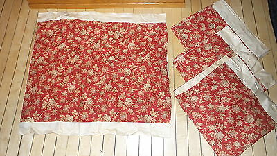 "4 Antique PILLOW COVERS, PILLOW SHAMS Beige Floral on Brick Red, 24""x30"""