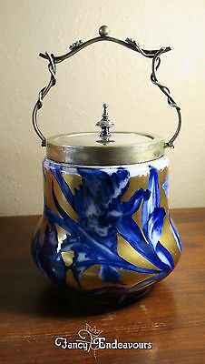 Biscuit Jar Thomas Forester Phoenix China Flow Blue & Gold Figural Flower Handle