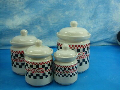 VTG Set of 4 Checkered Coca Cola Canister Set by GIBSON 1996 Red Black & White