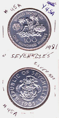 1981 SEYCHELLES 100 RUPEE WORLD FOOD DAY COIN KM#45a  PROOF  TYPE BU