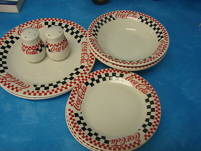 Set Of Ten Checkered Coca Cola Plates Salad Bowls With Pepper/Salt Shakers