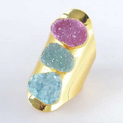 Size 7 Hot Pink & Blue Agate Druzy Geode Ring Gold Plated B028435