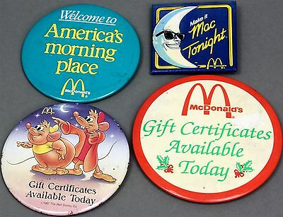 Lot of 4 Assorted McDonald's Restaurant Pinbacks Buttons Pins Collectible