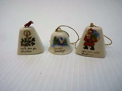 "Set of 3 Vintage Japan Christmas Bell Ornaments Porcelain 1.5"" tall  (o2227)"