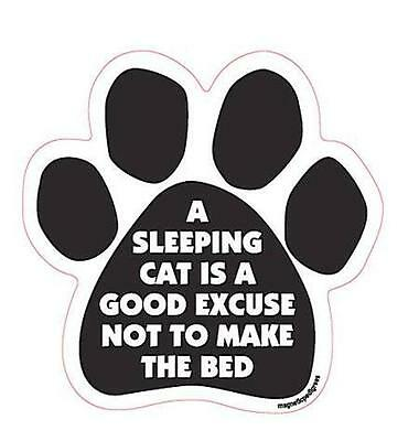 A Sleeping Cat Good Excuse Not to Make the Bed Paw Car Fridge Plastic Magnet
