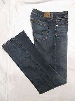 (*.*) AMERICAN EAGLE * Womens Stretch SKINNY KICK Bootcut Blue Jeans * Size 10 L
