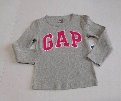 NWT Girls Baby Gap Gray With Pink/White Logo Long Sleeve Shirt sz 3t