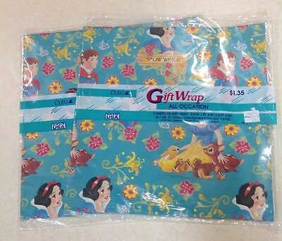 Lot Of Two Packages Vintage Snow White Wrapping Paper
