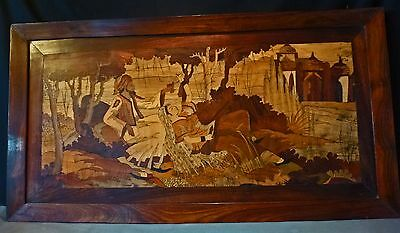 """Antique Persian Marquetry Panel, Rosewood Framed 38.5"""" x 20.5"""""""
