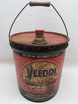 Vintage 5 Gal Veedol Tractor Oil Tide Water Oil Company Can Advertising