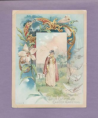 PILGRIM LADY On Beautiful LION COFFEE Victorian Trade & EASTER GREETING Card