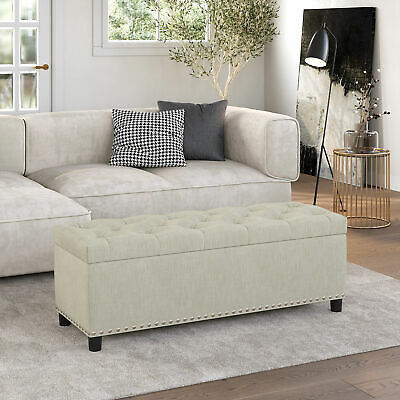 Enjoyable Danbury Off White Leather Armed Storage Ottoman Bench Onthecornerstone Fun Painted Chair Ideas Images Onthecornerstoneorg