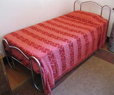 Vintage 50s art deco tubular chrome single bed