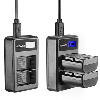 Neewer Portable USB Dual Battery Charger for Sony Rechargeable NP-F550 Battery