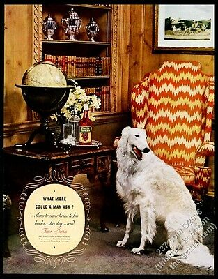 1938 Borzoi Russian Wolfhound photo Four Roses Whiskey vintage print ad