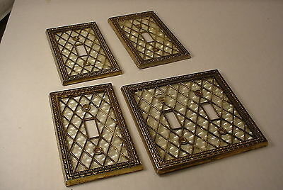 4 Vintage Switch Plate Cover Plates Brass with ZIGZAG Design Hollywood Regency