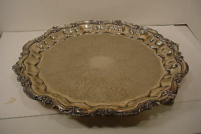 Vintage Silverplate Large ROUND Serving Tray
