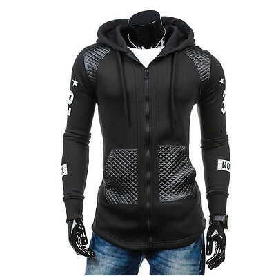 Winter Men's Leather Hoodie Warm Hooded Sweatshirt Coat Jacket Outwear Sweater B