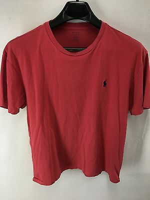Vintage Mens Polo Ralph Lauren Pinkish-Red Crewneck T-Shirt Tee Medium