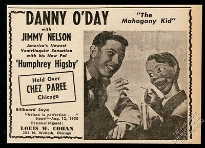 1950 Danny O'Day Jimmy Nelson ventriloquist act photo vintage trade print ad