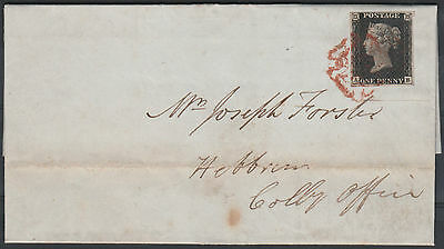 1840 SG2 1d BLACK PLATE 9 ON COVER GATESHEAD TO LONDON 4 MARGINS RED CROSS (AB)