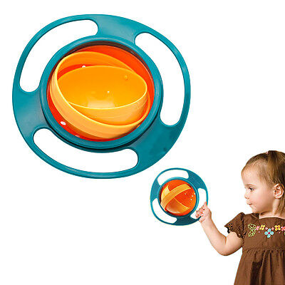 NEW Avoid Food Spilling 360 Rotating Baby Kid Non Spill Feeding Gyro Bowl Dishes
