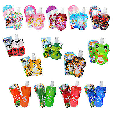 Kids Foldable Drinks Water Bottle Reusable Clip On Travel Folding Lunch Camping