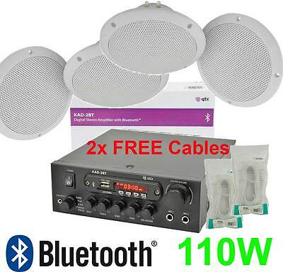 4x CEILING SPEAKERS BLUETOOTH DIGITAL STEREO AMPLIFIER, 2x 10m CABLES 103.122 B3