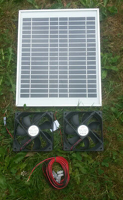 Hipower Solar Panel And Twin 12Cm Fan Ventilation Kit,loft,basement,greenhouse