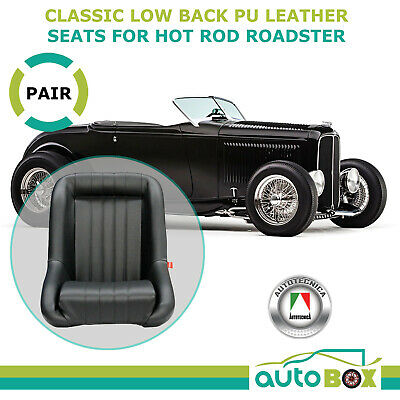 Black Pu Leather Classic Low Back Sports Seats W/ Support Rails Roadster Hot Rod