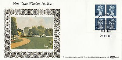(99185) GB Benham FDC D80 56p Window Booklet Pane 14p Windsor 23 August 1988
