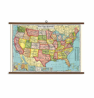 Cavallini - Vintage School Chart - Ready To Hang - 100 x 70cms-United States Map