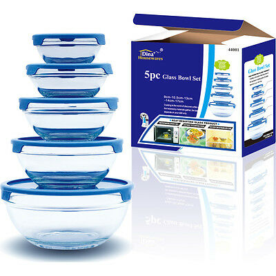 5Pcs GLASS BOWL SET FOOD STORAGE CONTINER with Lids 4Colours Available