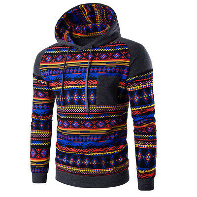 Men Bohemia Retro Long Sleeve Hoodie Hooded Sweatshirt Tops Jacket Coat Outwear