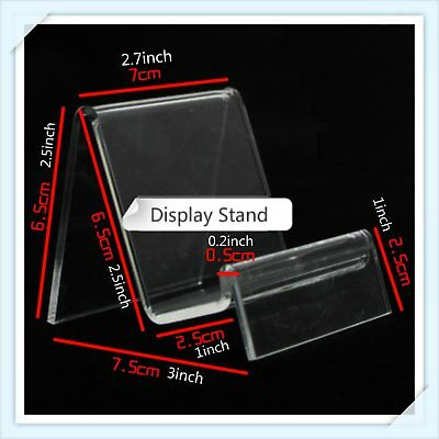 10 x Clear Acrylic Retail Shop Display Stand Purse Phone Case Holder 7cm Width