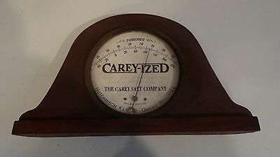Display VINTAGE RARE Carey SALT Advertising Thermometer Tin Metal One of a kind