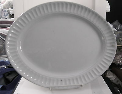 NIce Antique WHITE IRONSTONE FLUTED BORDER PLATTER by JW Pankhurst Staffordshire