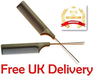 Hairdresser Barber Metal Pin Tail Rat Tail Comb For Styling Black Duralon UK PRO