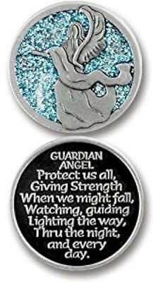 Guardian Angel Pewter Token Coin - Enamelled Decorative Finish
