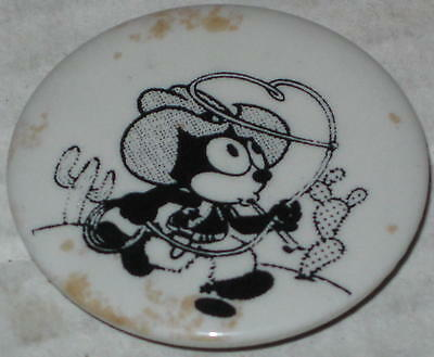 "Approx 1.75"" Felix the Cat Cowboy Pin - Has Spots on Front of Pin"