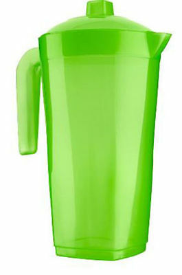 2 x 1.6 Litre Water Juice Drinks Plastic Pitcher Jug with Lid 3colours available