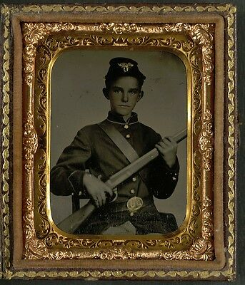 Photo Civil War Union Young Boy Soldier In Uniform With Rifle Musket
