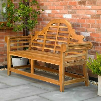 Ornately Curved Teak Bench Outdoor Patio Garden Furniture Heavy Duty Wido