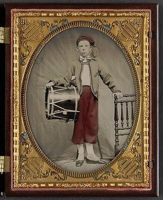 Photo Civil War Union Young Boy In Zouave Uniform With Drum