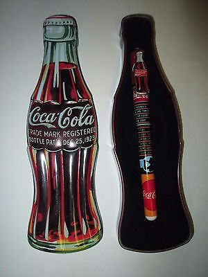 Coca-Cola Coke Bottle Shaped Tin with Ink Pen 1996