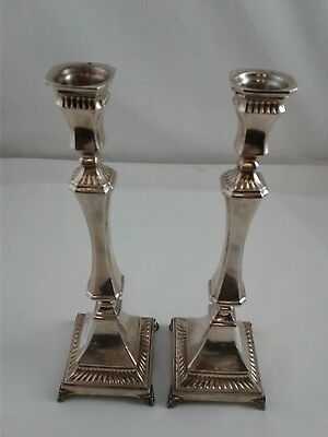 "Pair of Candlesticks (2 total) - Sterling Silver 925 - 10 "" high - Weight 422 g"