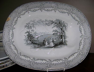 "RARE Antique ""HUMPHREY'S CLOCK"" GREY TRANSFERWARE WELL&TREE PLATTER Staffordshir"