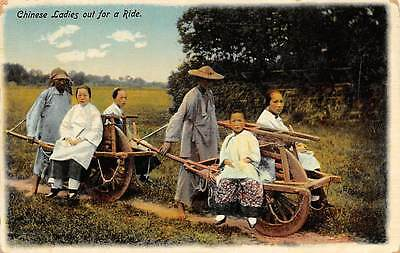 CHINA ~ WOMEN & CHILD OUT FOR A RIDE ON 2 WHEELBARROWS ~ c. 1904-14