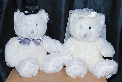 Russ Berrie & Co 2 X Teddy Bear Soft / Plush Toys Bride & Groom