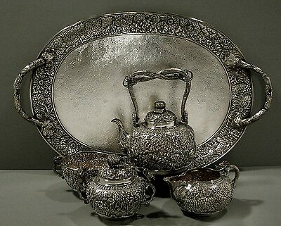 Japanese Sterling Tea Set With Tray    SIGNED       DRAGONS               112 OZ
